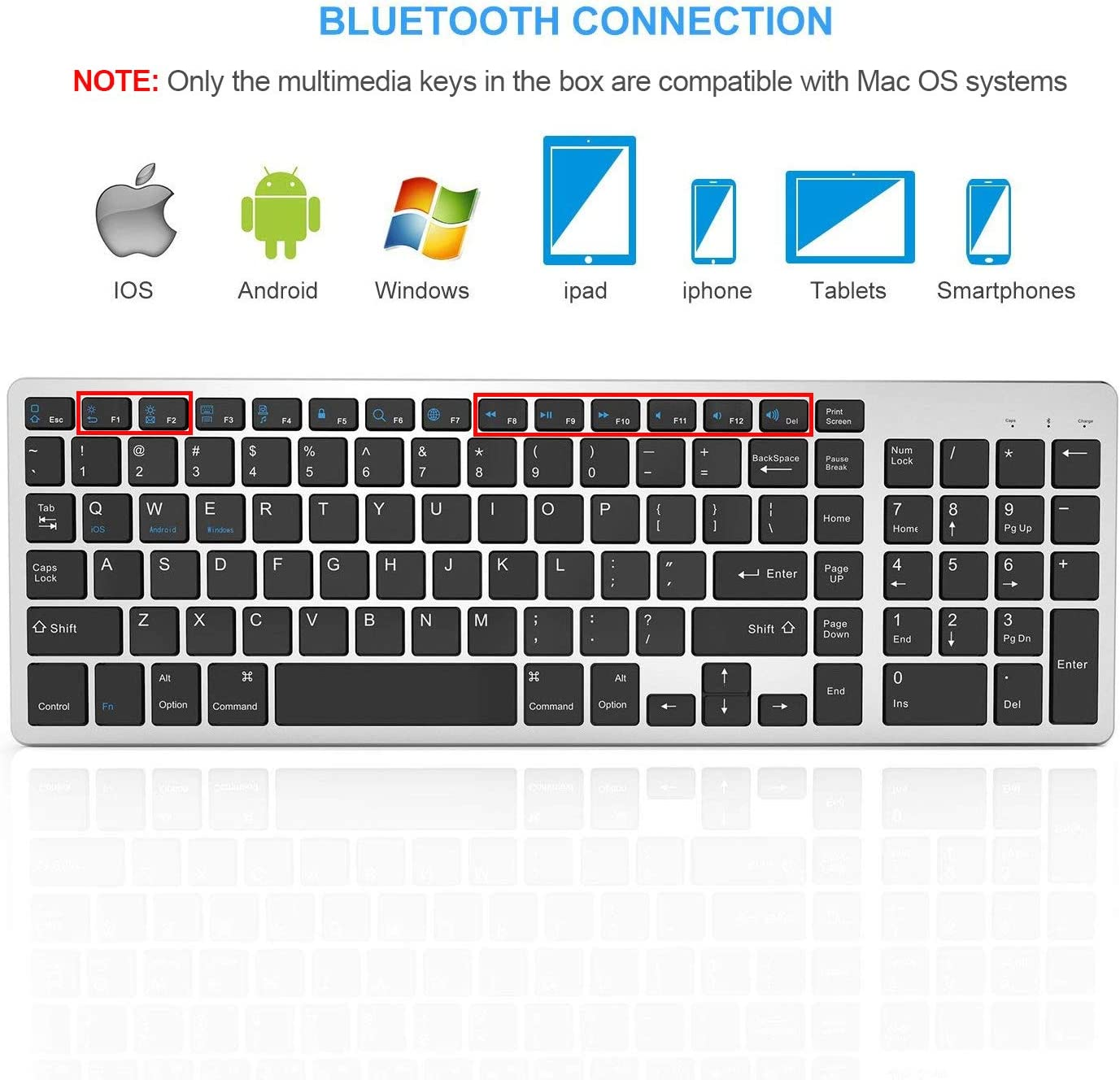 Jelly Comb Rechargeable Slim BT Wireless Keyboard with Number Pad Full Size Design for Laptop Desktop PC Tablet Windows iOS Android-Black Bluetooth Keyboard