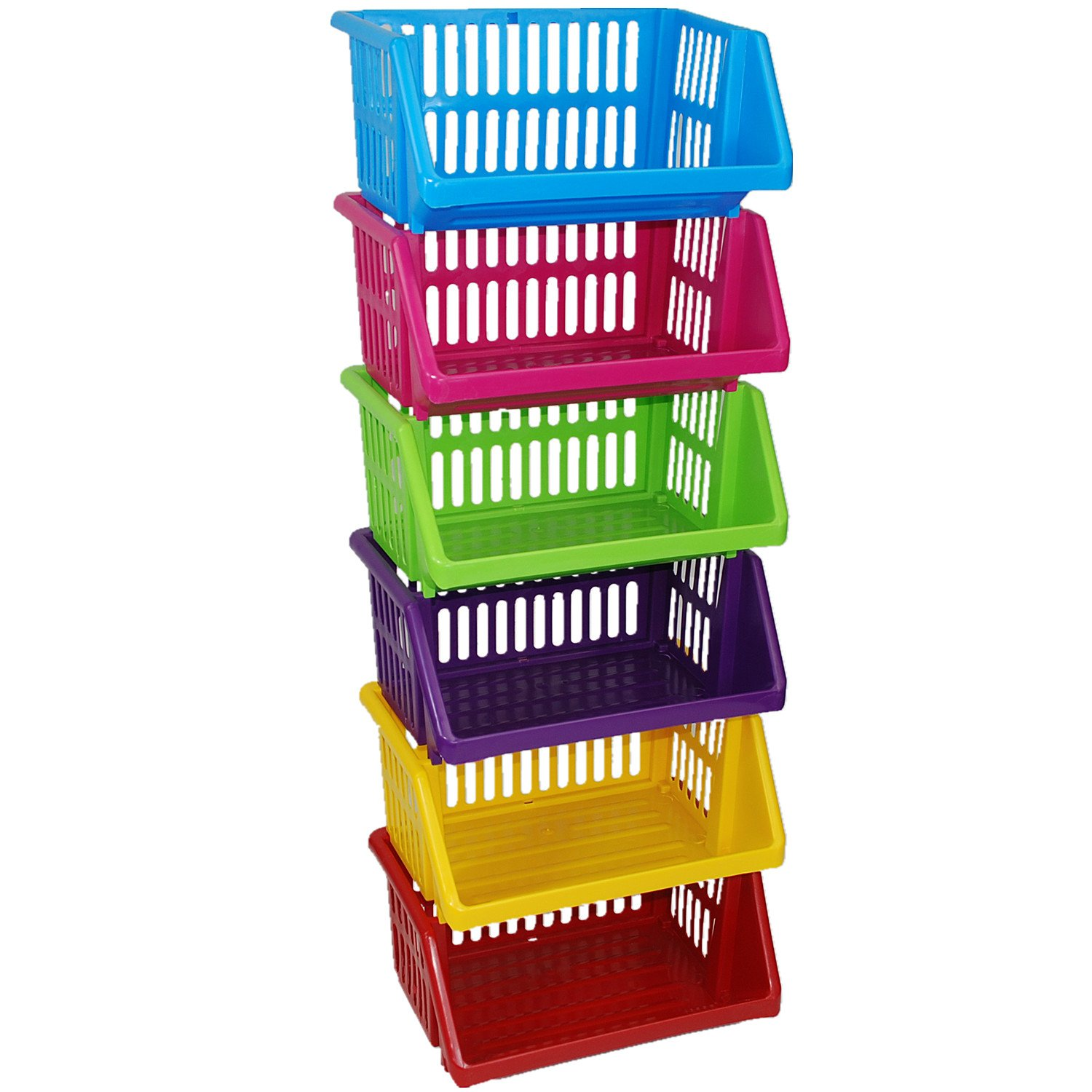 CrazyGadget® Multi Purpose Large Plastic Colour Storage Rack Stand Stacking Stackable Basket - Made In U.K. (3 Tiers, Cream)