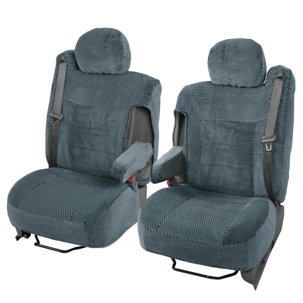 Scottsdale Cloth Front Seat Covers for Trucks SUV Integrated Armrest TS (Charcoal Gray) BDK