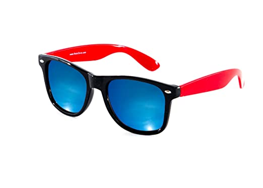 10715e6c230 Image Unavailable. Image not available for. Colour  Wayfarer Sunglasses  With Red Arms   Blue Mirror Lens Designer Style New