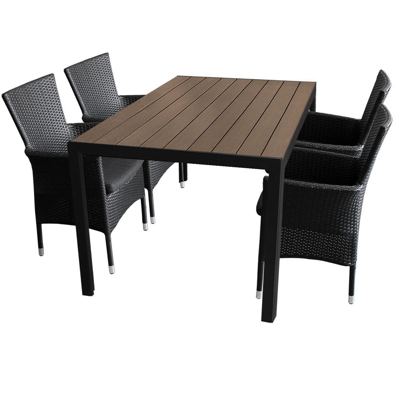 5tlg. Gartengarnitur Aluminium Gartentisch 150x90cm mit Polywood Tischplatte stapelbare Polyrattan Gartensessel inkl. Sitzkissen