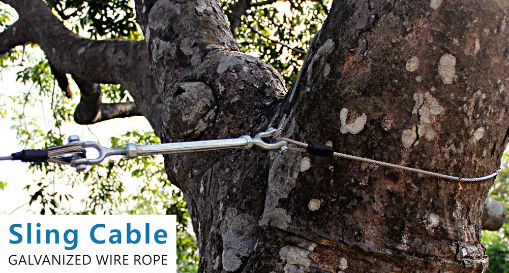 Zip Line Sling Cable 8//11//14 Foot Wire Rope 14 Foot 3//16In