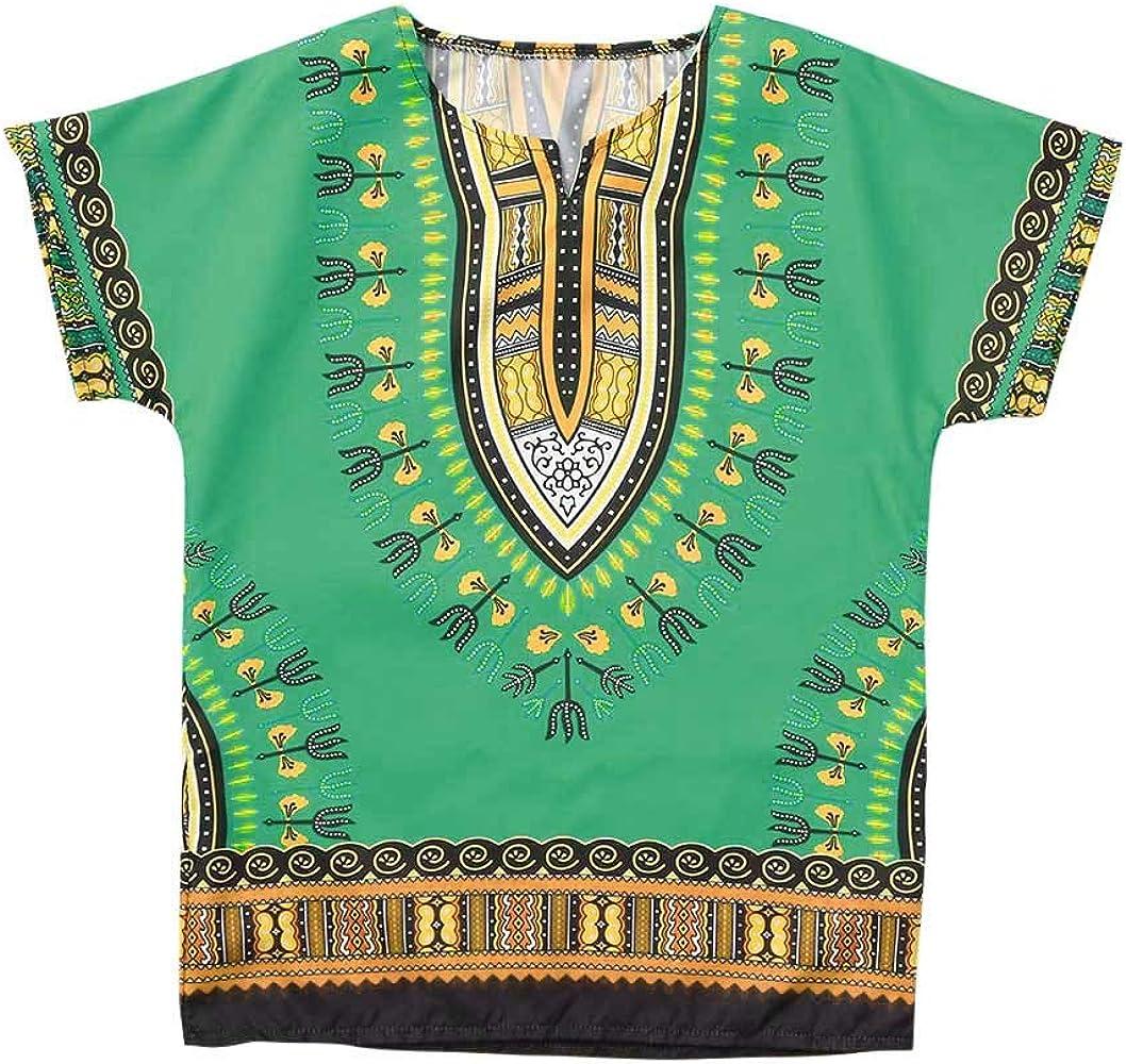 Innerternet-Camiseta de niño, (2-12 años de Edad) Bebes niños Y niñas Camiseta de Manga Corta de Estampado étnico Africano(Azul/Rosa Caliente/ Verde/Amarillo/Naranja): Amazon.es: Ropa y accesorios