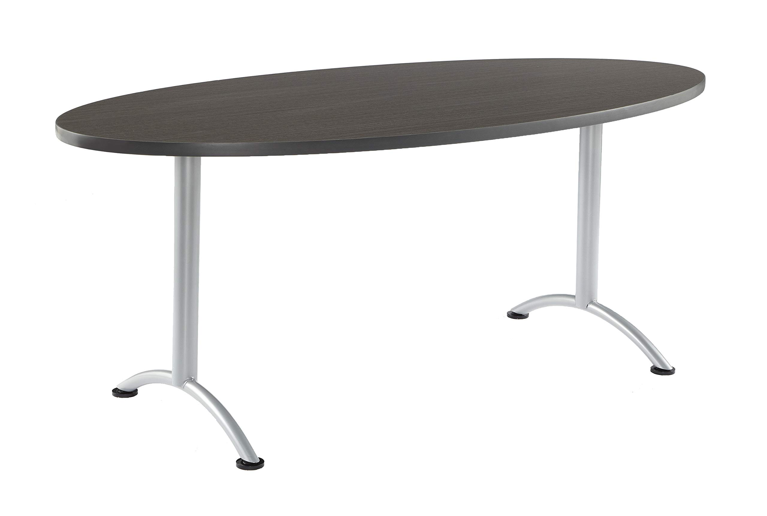 Iceberg ICE69425 ARC 6-foot Oval Conference Table, 36'' x 72'', Gray Walnut/Silver Leg by Iceberg