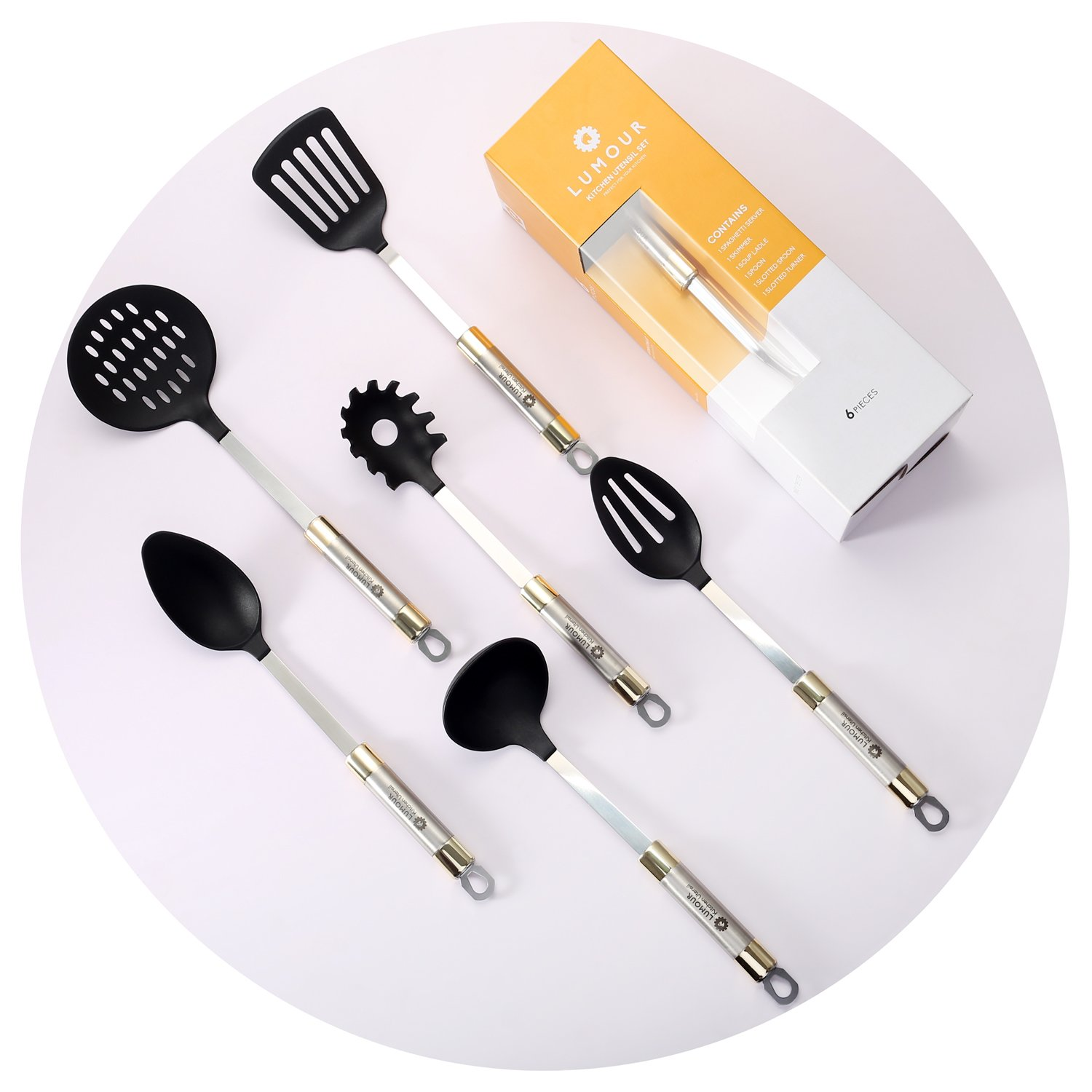 6 Piece Nonstick Nonscratch Kitchen Cooking Utensils, Nylon and Stainless Steel Kitchen Tools Set