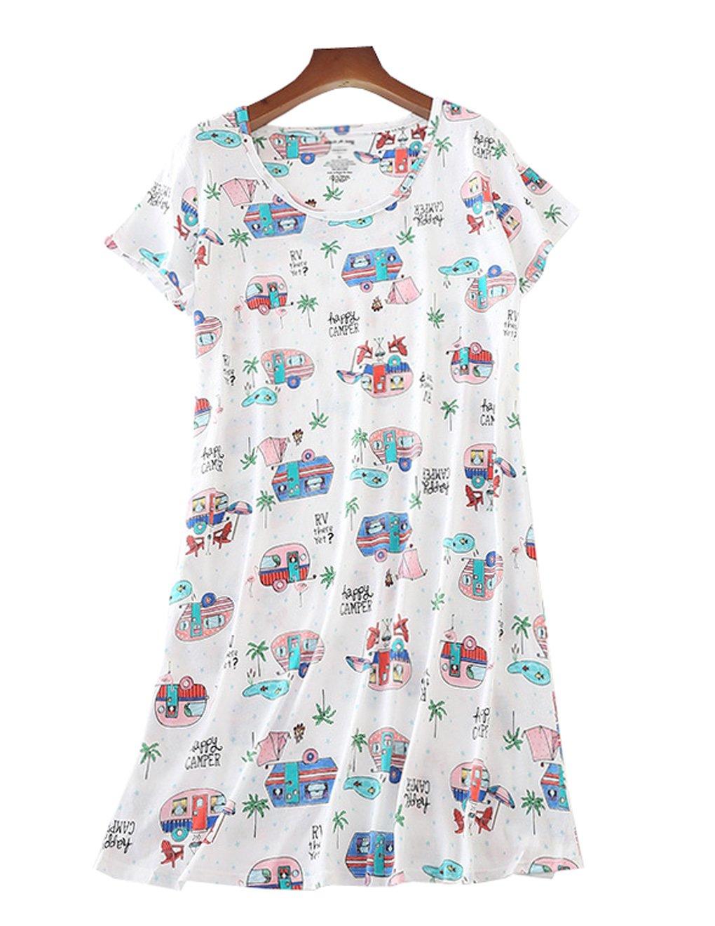 VENTELAN Women Nightgown Cute Short Sleeve Summer Sleepwear Dress Cotton Pajama