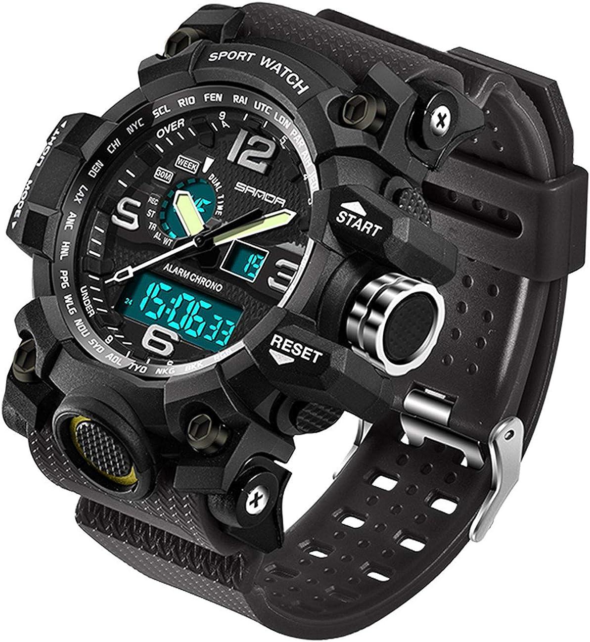 Amazon.com: Mens Military Watch Dual Display Waterproof Sport Digital Big  Wrist Watch Outdoor Army Wristwatch: Watches