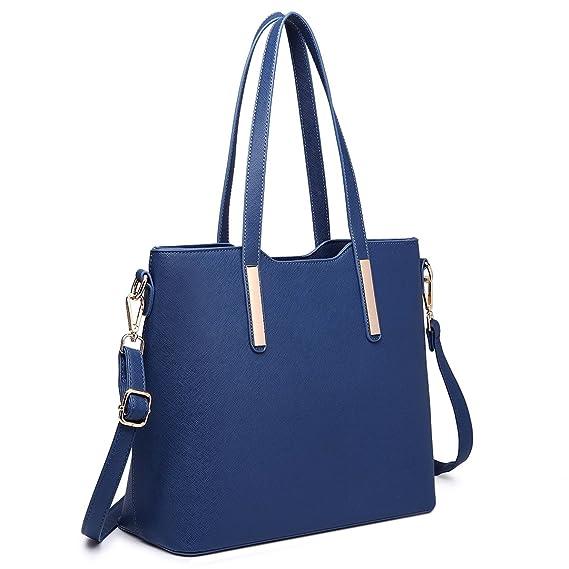 Miss Lulu Bolsos de mujer 3 piezas Bolso de hombro Bandolera Cartera HERMOSA fácil cambiar en uso diario (Azul oscuro): Amazon.es: Equipaje