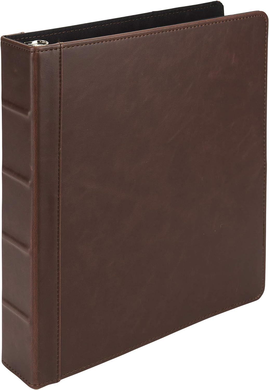 Samsill Vintage Hardback Book Binder / Professional Binder Organizer / Planner Binder / 1.5 Inch 3 Ring Binder / Dark Brown (No Zipper, Letter Size)