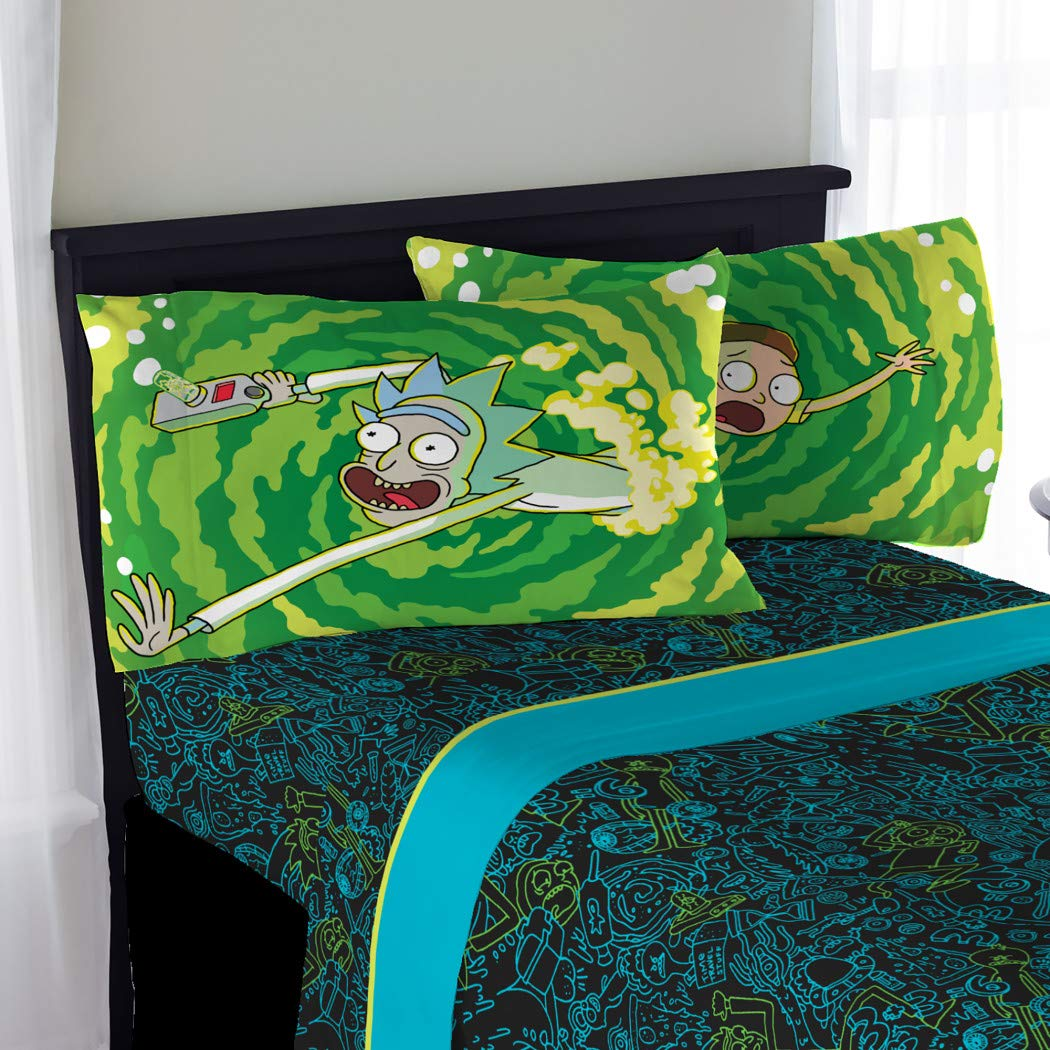 Polyester 3 Piece Teen Green Rick Morty Sheet Set Twin Black Galaxy Bedding Dots Bed Sheets Blue Reversible Whimisical Abstract Tv Show Gorgeous Durable Elegant Luxurious Soft Modern Cozy