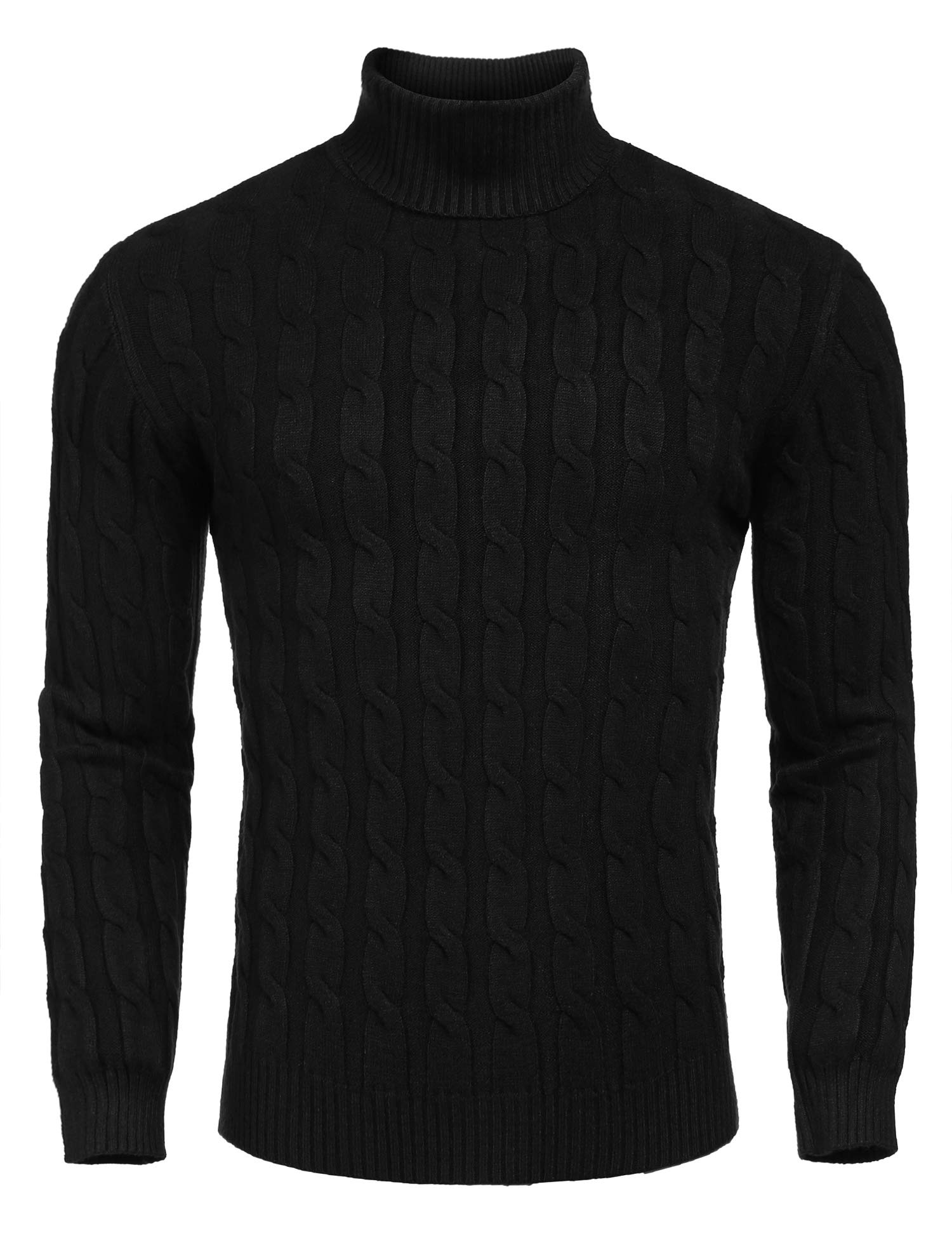 COOFANDY Men's Slim Fit Knitted Pullover Ribbed Turtleneck Sweater, Black, Small