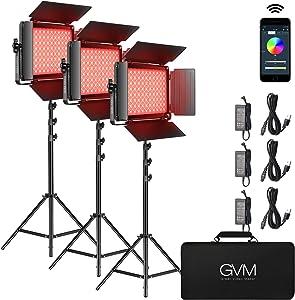 RGB LED Video Light, GVM 45W Photography Lighting with Bluetooth Control, Full Color Video Lighting Kit for YouTube Studio, 3Packs Led Panel Light, 736pcs Led Beads, 3200K-5600K, 8Applicable Scenes