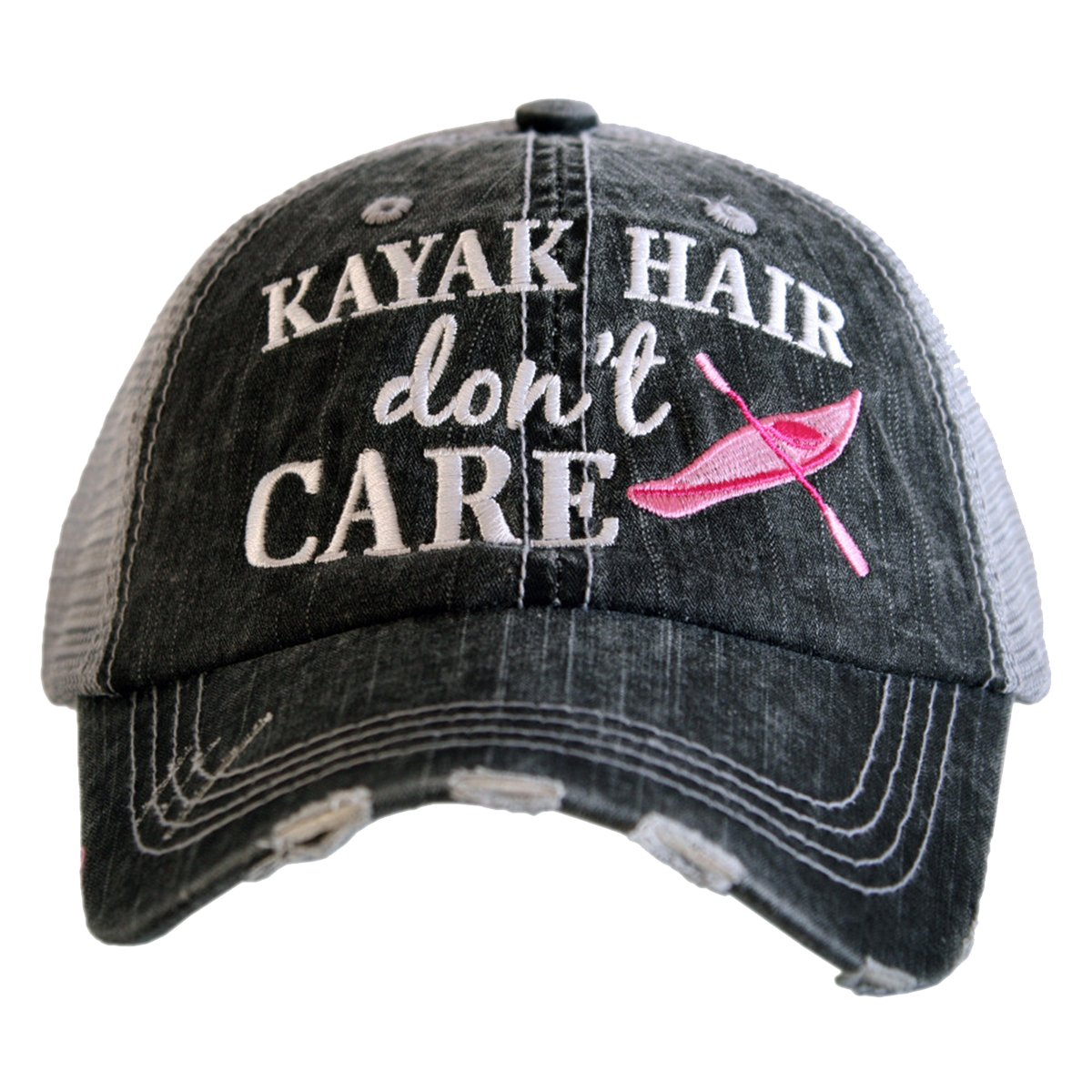 Katydid Kayak Hair Don't Care Women's Trucker Hat-Gray/hot Pink
