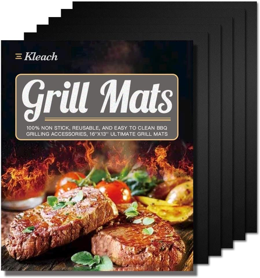 Kleach Grill Mats Set of 5 – Non Stick BBQ Grill Baking Mats – Reusable Outdoor Picnic Fry Mats Easy to Clean – Used for Gas Grill, BBQ Grill, Charcoal Grill, Baking and Barbeque 16 x 13-Inch