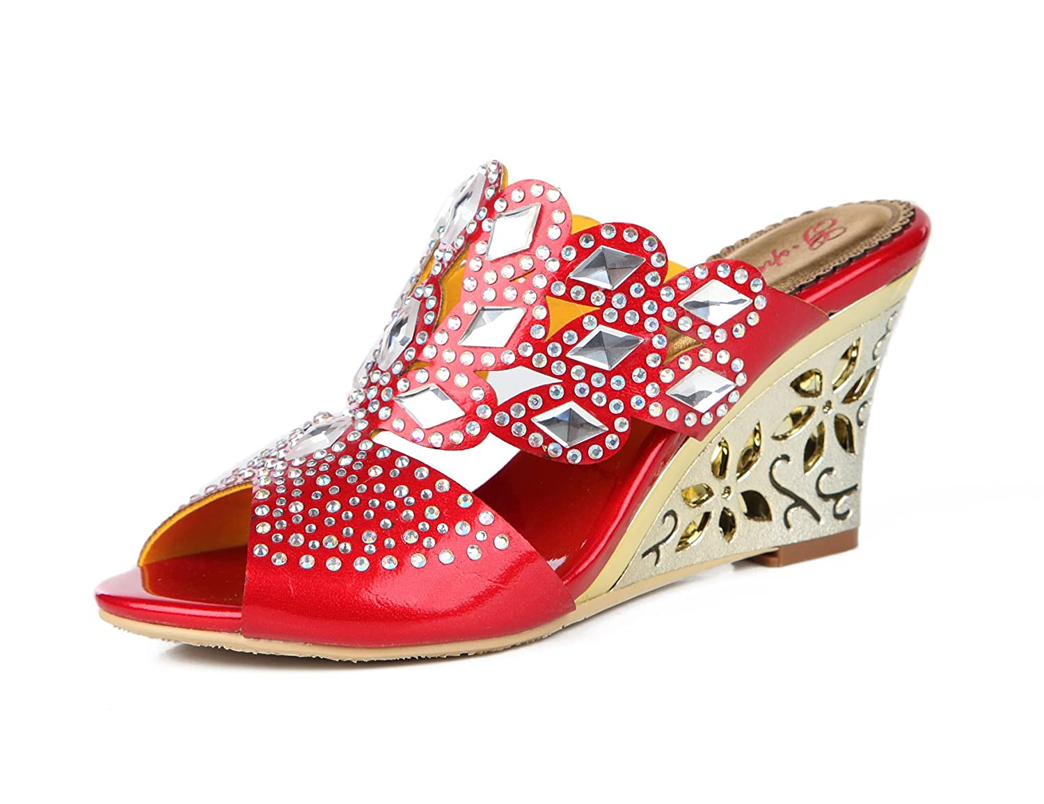 Honeystore Women's Rhombus Rhinestones Handmade Party Wedge Sandals B0721PX79T 7.5 B(M) US|Red