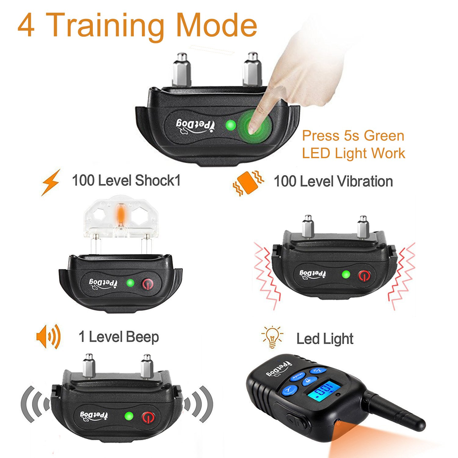 Fettish Dog Training Collar Rechargeable & Waterproof Electric Remote Dog Shock Collar with LED Light Beep Vibration Safety Shock Modes for Small/Medium/Large Training Collars by Fettish (Image #8)
