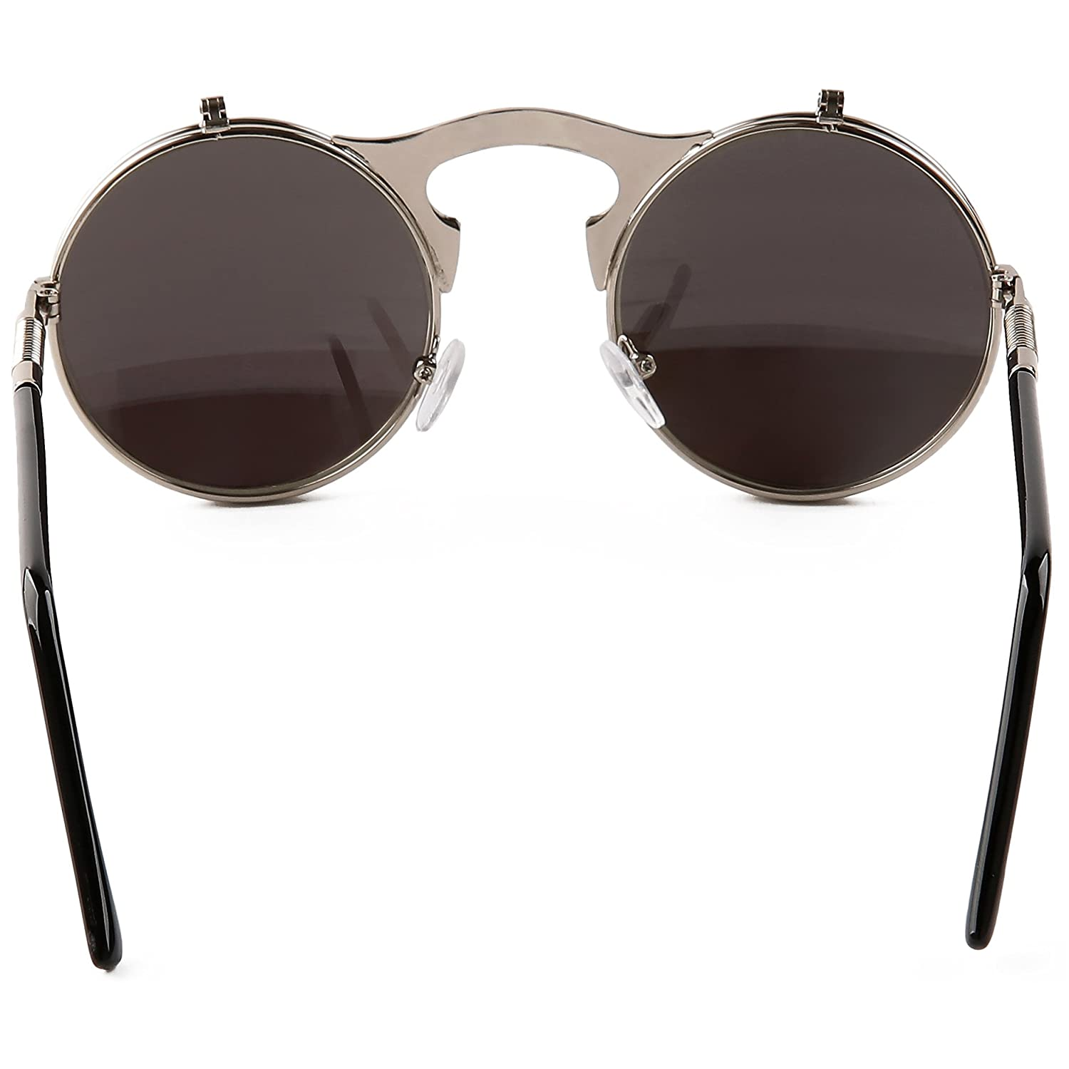 fe752c666e Amazon.com  Pession Small Retro Steampunk Circle Flip Up Glasses    Sunglasses  Clothing