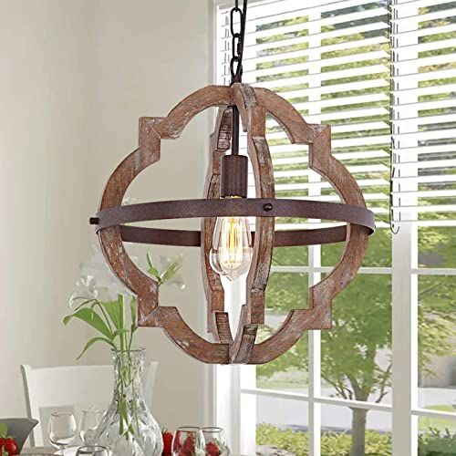 Trongee Farmhouse Wood Chandelier