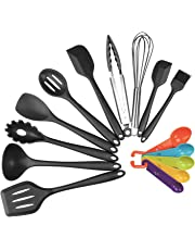 Silicone Kitchen Utensil Set, Evantek 10 Piece Kitchen Tool Set, Cooking Utensils Set, Non-Stick Heat Resistant for Baking BBQ with Solid Core
