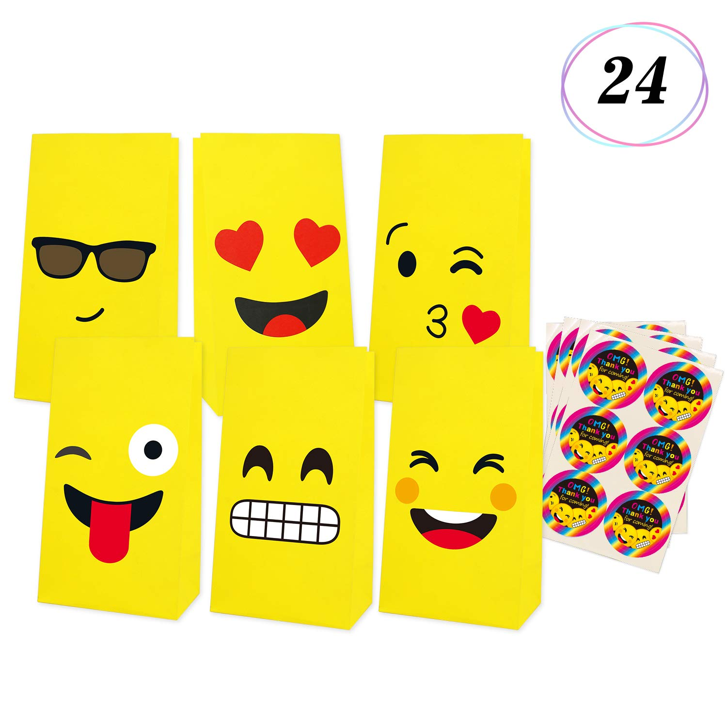 Emoji Gift Bags Birthday Party Favor Candy Goodie Emoticon Fun Classroom Treats Rewards For Kids Themed Supplies