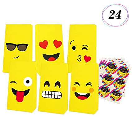 Emoji Gift Bags Birthday Party Favor Candy Goodie Emoticon Fun Classroom Treats Rewards