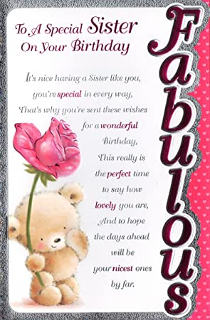 Sister Birthday Card To A Special Sister On Your Birthday Amazon