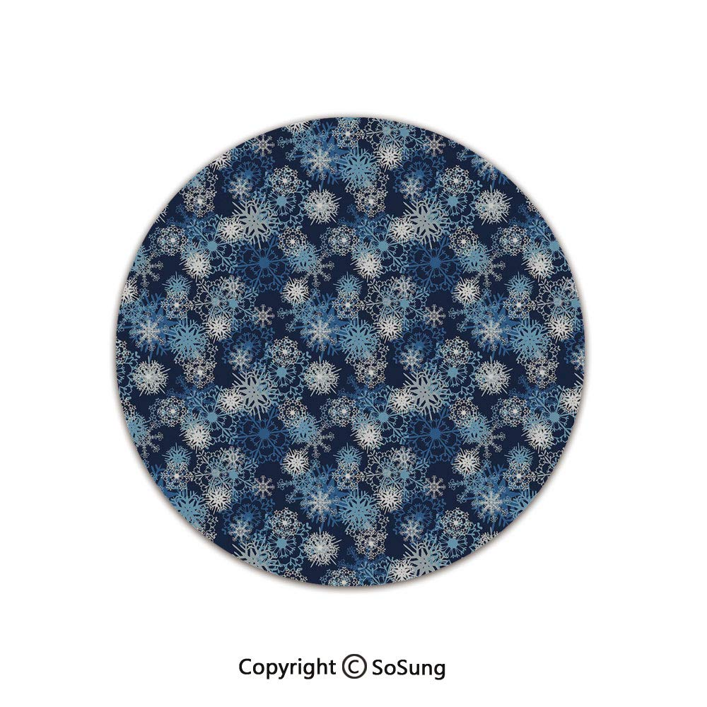 Winter Round Area Rug,Various Different Ornate Snowflakes Blizzard Cold Season Xmas Themed Decorative,for Living Room Bedroom Dining Room,Round 3'x 3',Pale Blue Dark Blue White by SoSung