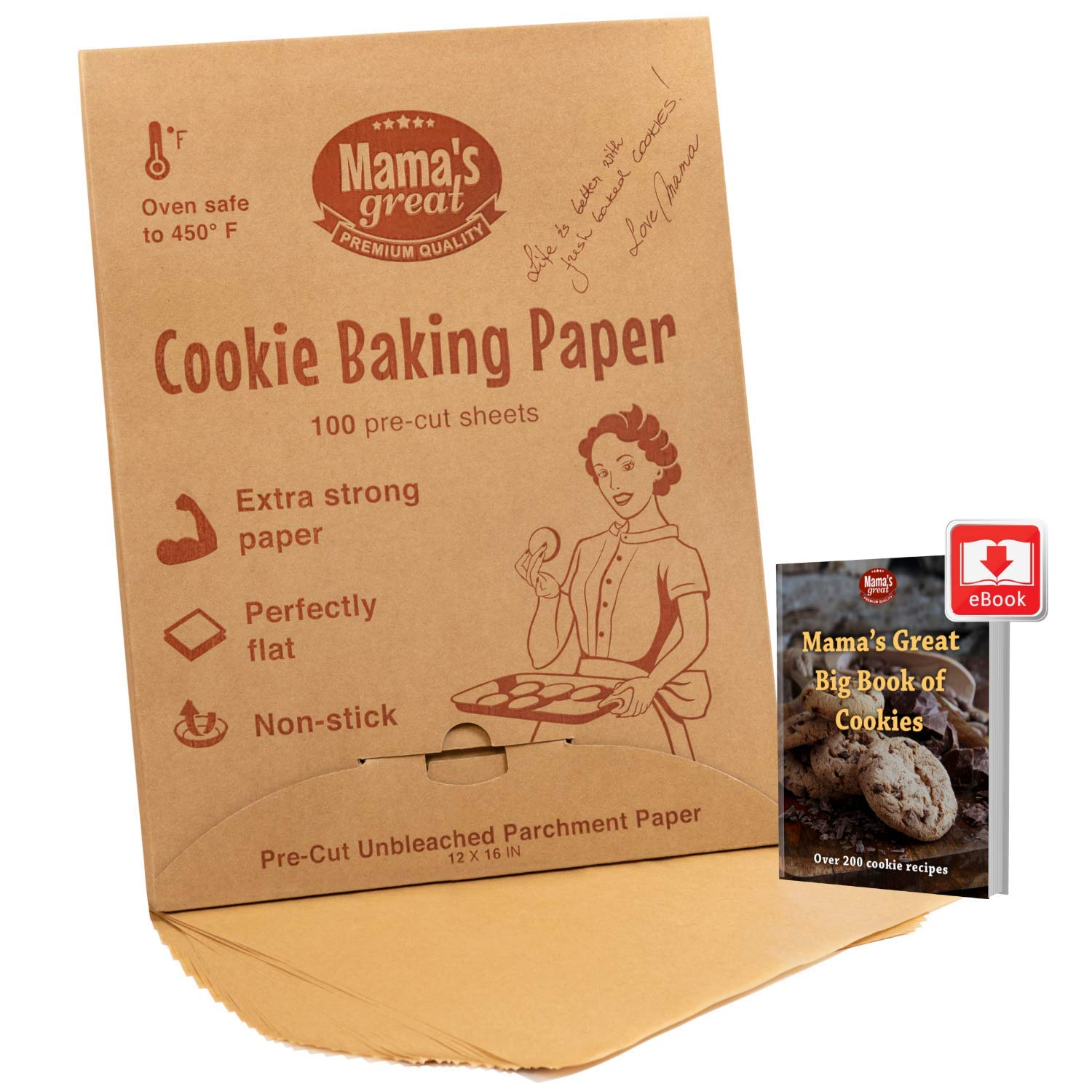 Unbleached Brown Parchment Paper Sheets for Half Sheet Pans (100 Pcs). Pre Cut 12 x 16 Inches. Double Side Silicone Coated Cookie Sheet Liner. Extra Thick and Strong. Best for Baking Cookies & Pastry