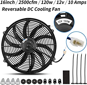 Universal High Performance Reversible 16 Inch Electric Engine Radiator Cooling Fan with Mounting Kit 2500 CFM 12 Volts 10 Amps 120 Watts