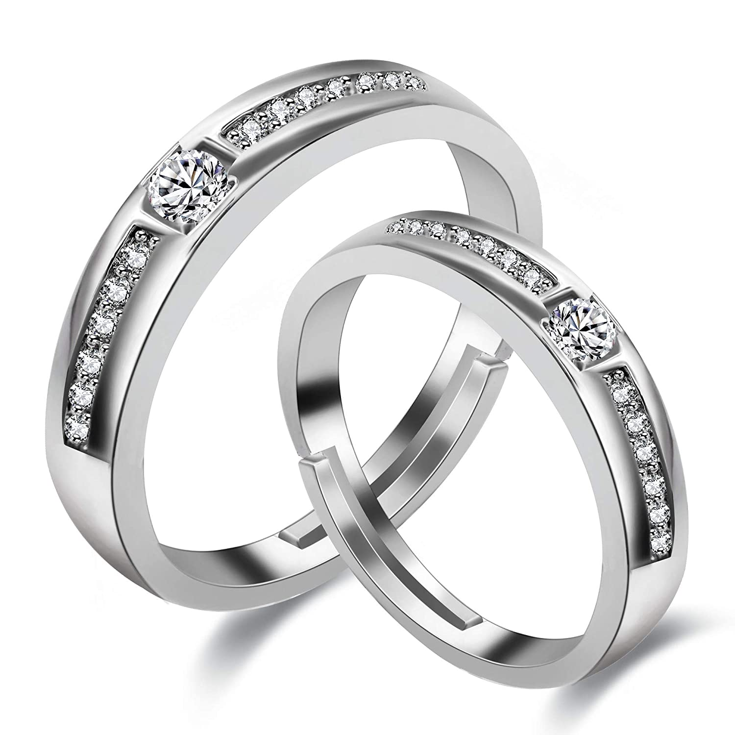 Uloveido 2 Pcs Adjustable His And Hers Engagement Ring Set Platinum Plated Puzzle Matching Heart Wedding Band Rings For Lovers Valentine's Day Couples Gifts: Matching Platinum Wedding Bands At Reisefeber.org