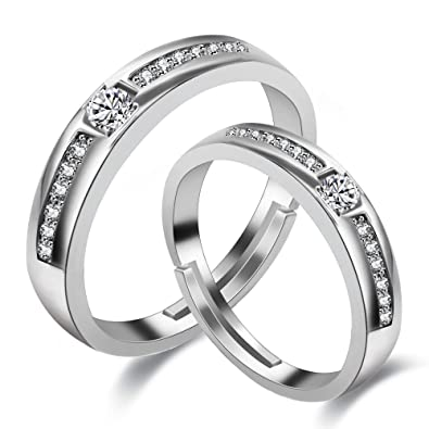 12ff1f9341 Uloveido A Pairs of His and Hers Adjustable Engagement Wedding Band Rings  Set Platinum Plated Grooved