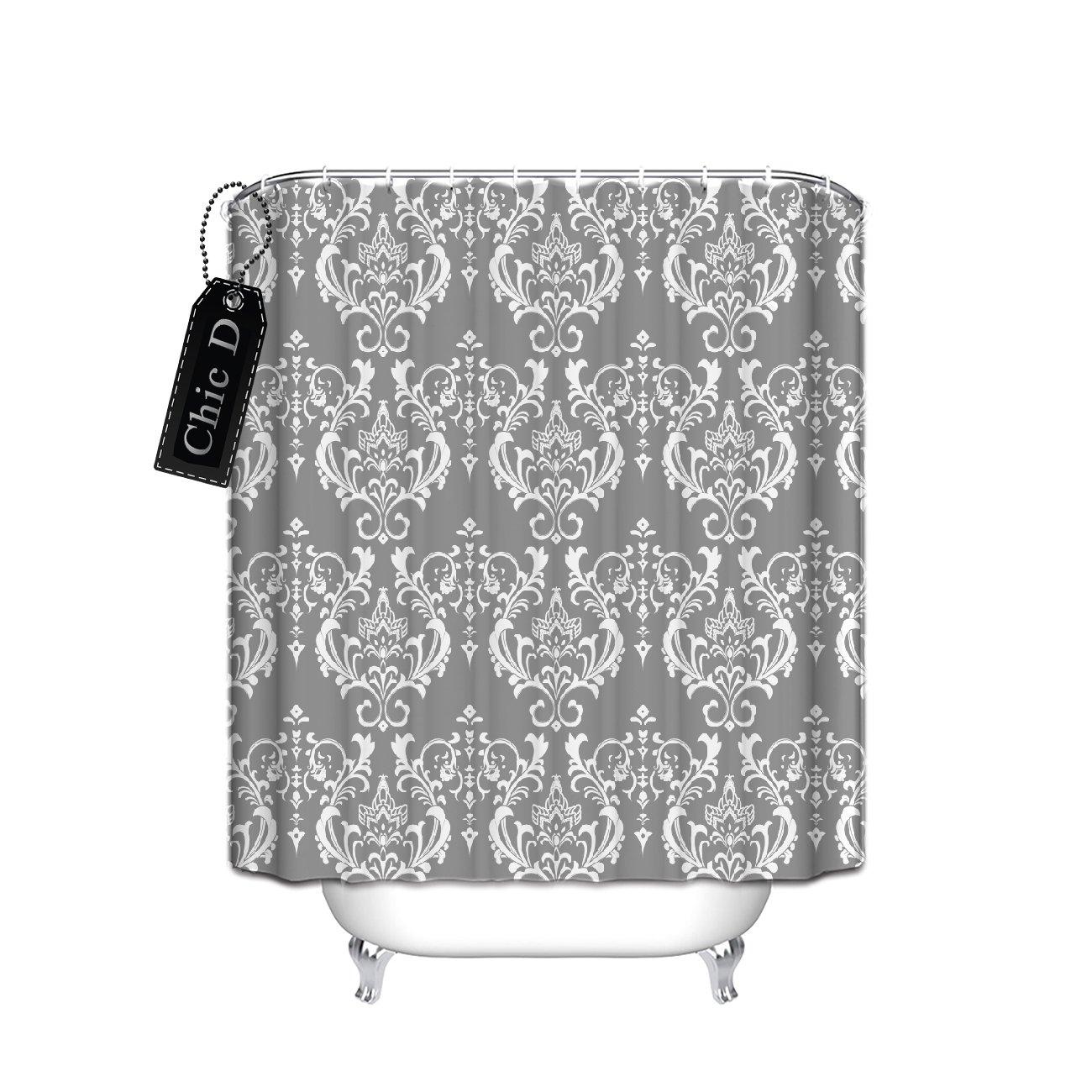 Grey Damask Waterproof Mildew-Resistant Fabric Shower Curtain Extra Long 72x84 Inches Home Bathroom Decorative Fleur de Lis Theme Chic D