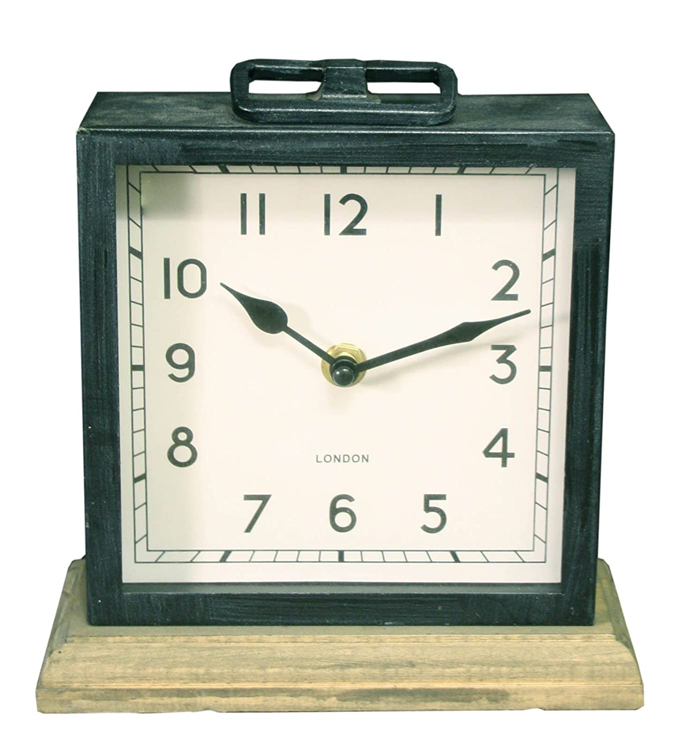 Black Distressed Painted Metal Table Top Square Clock on Wood Base marymarygardens