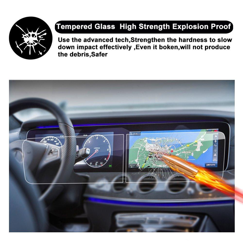 R RUIYA HD Clear TEMPERED GLASS Protective Film 2017 2018 Mercedes-Benz E Class W213 E300 E400 AMG E43 E63 Touch Screen Car Display Navigation Screen Protector Double-Screen