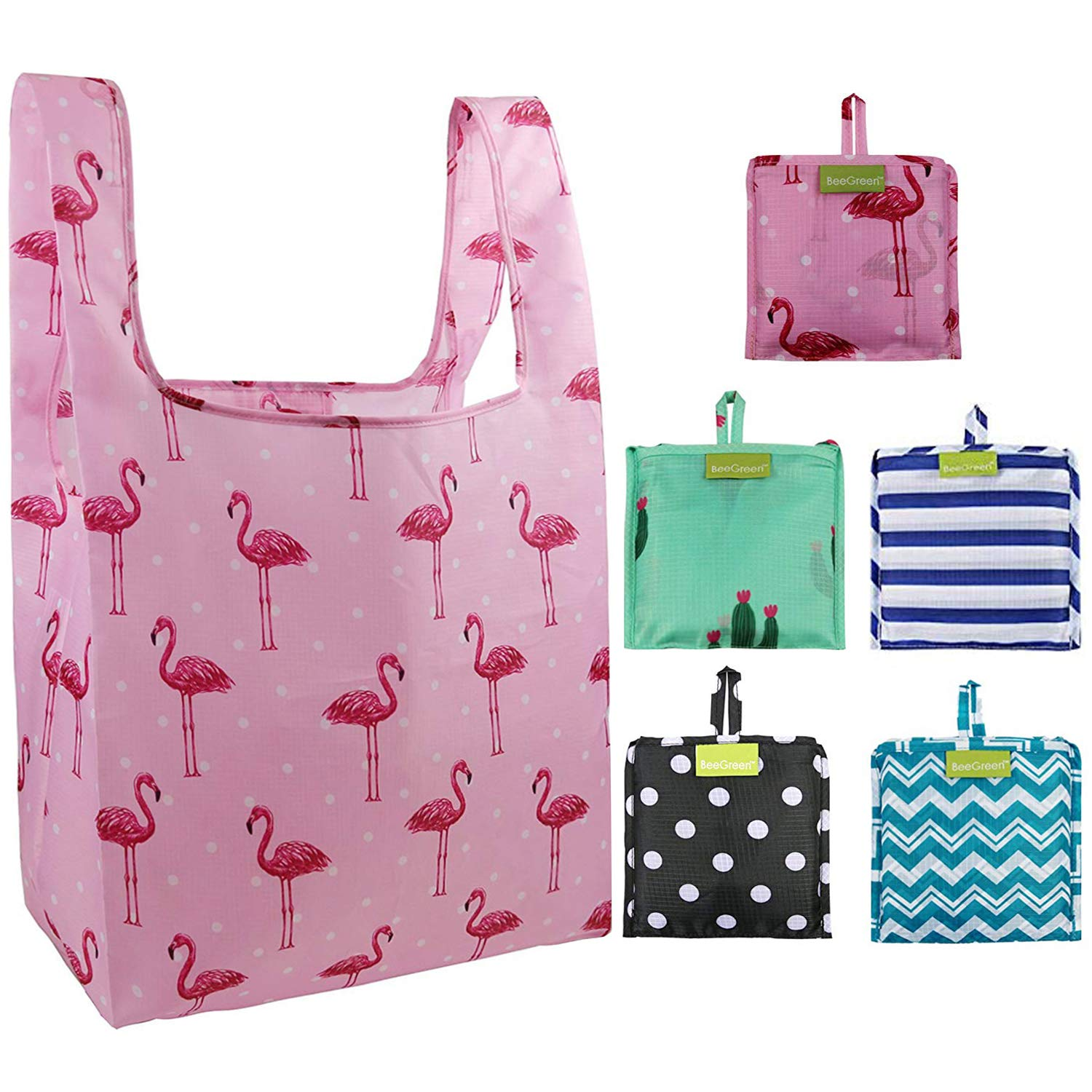 Foldable Reusable Grocery Bags Bulk 5 Cute Designs Folding Shopping Tote Bag Fits in Pocket Eco Friendly Ripstop Nylon Waterproof and Machine Washable Cloth Bags for Groceries Recycle Gift Bags Large by BeeGreen