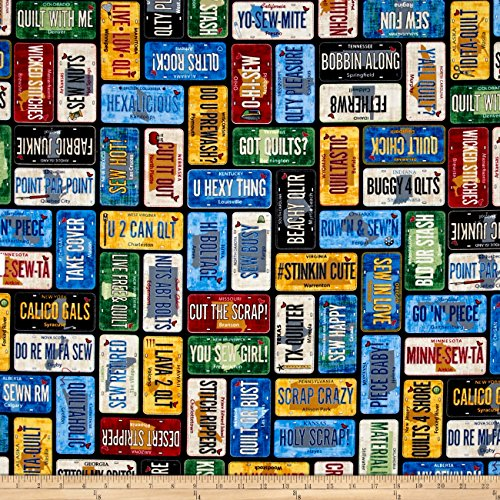 Timeless Treasures Home Sweet Home License Plate Multi Fabric By The Yard (License Plate Machine compare prices)