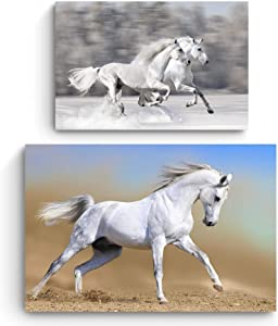 Startonight Canvas Wall Art - Animals - White Horse and Running Horses - Buy one Get Two - Bundle - Modern Home Decoration - Ready to Hang Painting