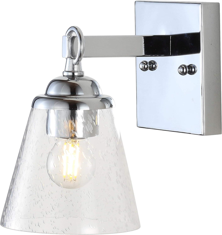 "JONATHAN Y JYL7432A Marion 5"" Hurricane Metal/Glass Vanity Contemporary,Transitional 2700K LED 4W Bulbs, Reversible, for Bedroom Livingroom Bathroom Hallway, 1, Chrome/Clear"