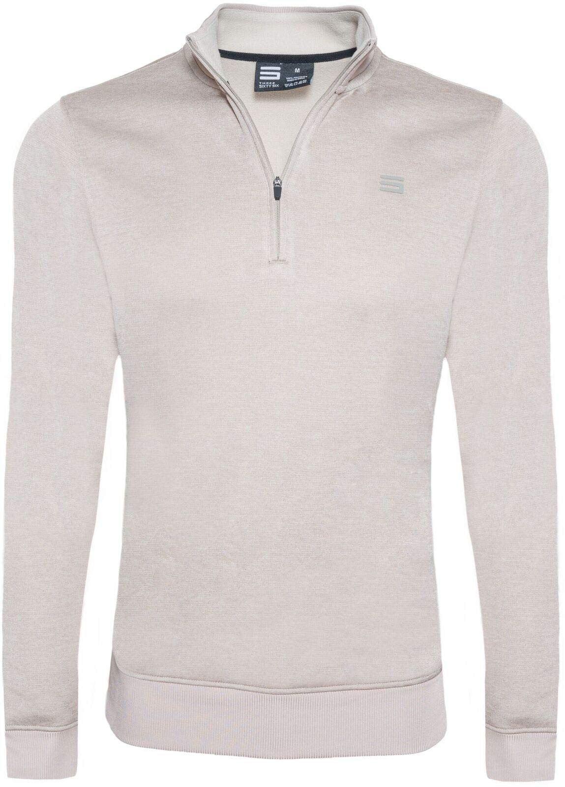 Dry Fit Pullover Sweaters for Men - Quarter Zip Fleece Golf Jacket - Tailored Fit Khaki by Three Sixty Six