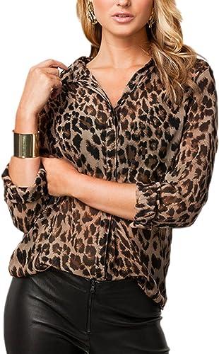 Zamtapary La Mujer Casual Leopard Print Button Down Top Blusa de Gasa Camisa de Trabajo: Amazon.es: Ropa y accesorios