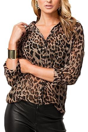 size 40 ec828 c7a77 Zamtapary Bluse e Camicie da Donna Casuale Leopardato Manica Lunga Chiffon  Camicia