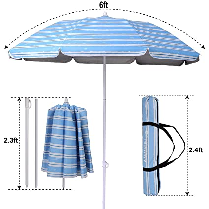 AMMSUN 2017 6ft Two Folded Patio Beach Umbrella for Sun and Outdoor with Sand Anchor,with Hanging Hook,with Metal tilt Portable Cabana Silver Coating Inside with 99% UV Protection Stripe (Blue)