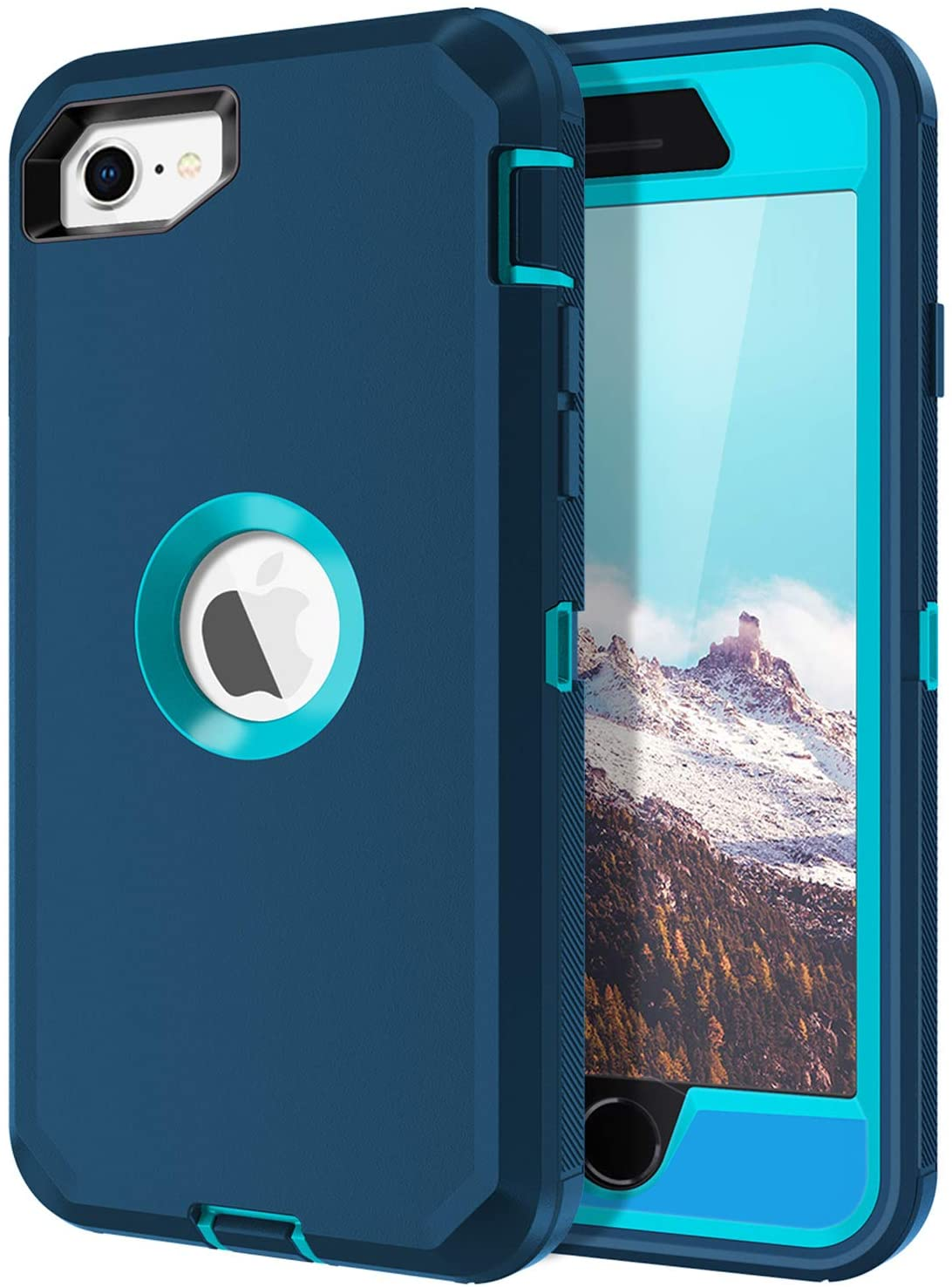 I-HONVA for iPhone SE 2020 Case Built-in Screen Protector Shockproof Dust/Drop Proof 3-Layer Full Body Protection Rugged Heavy Duty Durable Cover Case for Apple iPhone SE (2nd Gen) 4.7-inch, Turquoise