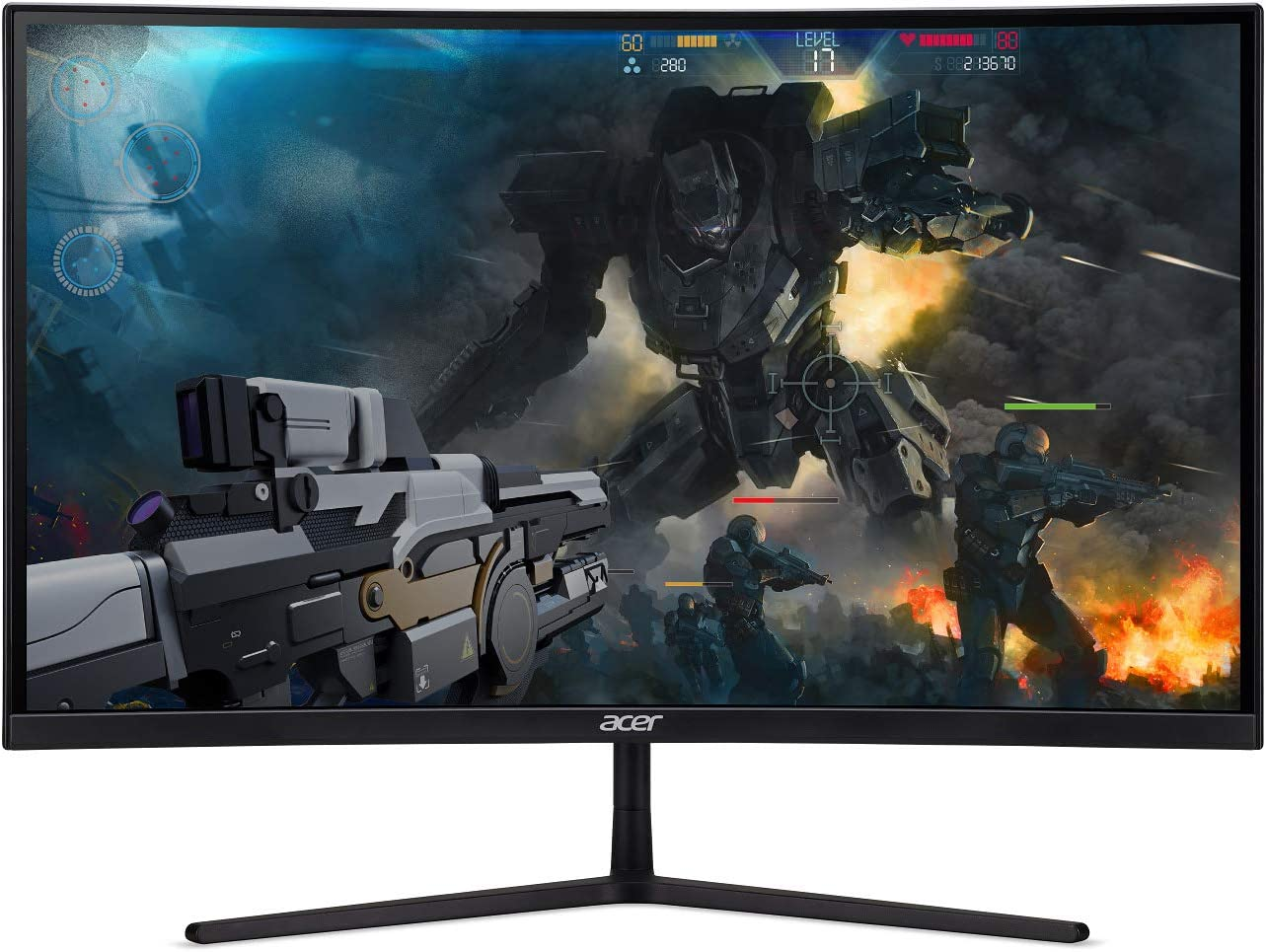 "Acer EI272UR Pbmiiipx 27"" 1500R Curved WQHD (2560 x 1440) VA Gaming Monitor with AMD Radeon FreeSync2 HDR Technology, 144Hz, VESA Certified DisplayHDR400, DCI-P3 (Display Port & 3 x HDMI Ports), Black"