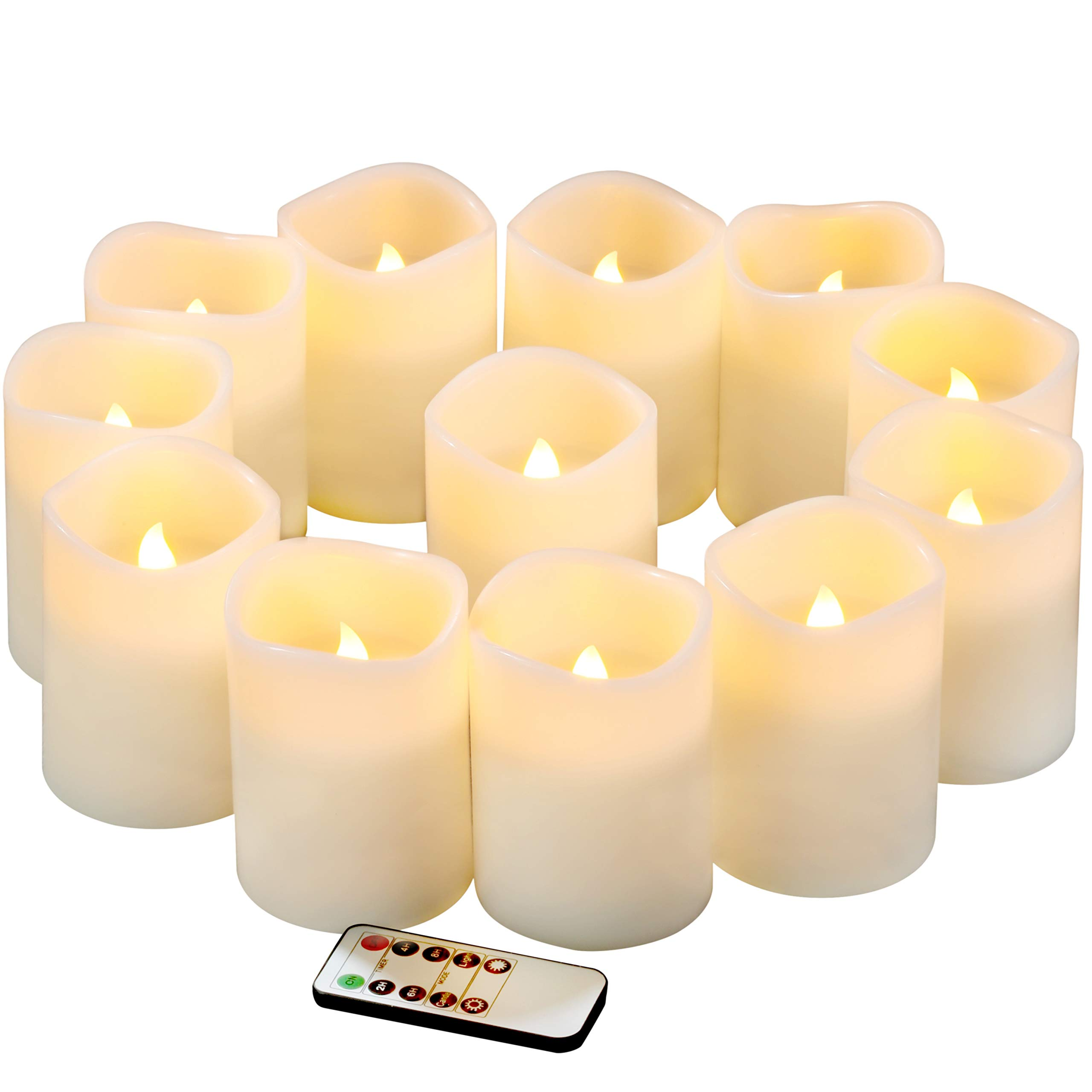 qinxiang Flameless Candles Battery Operated Candles Set of 12(D3 x H4) Pillar Real Wax Led Candles with Remote Timer
