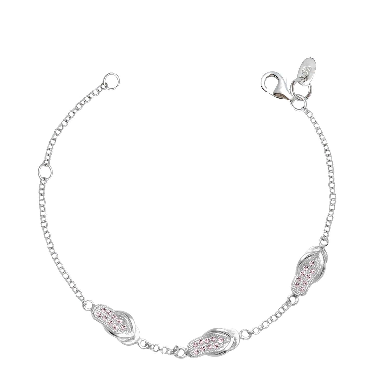 UNICORNJ Childrens Sterling Silver 925 Cubic Zirconia Pave Hawaiian Slipper Flip Flop Row of 3 Bracelet 5.75 Italy