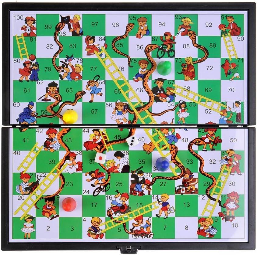 Piezas magn/éticas SC3630 12,8cm x 12,8cm x 1cm : Serpientes y Escaleras Quantum Abacus Juego de Mesa magn/ético DE Tablero Plegable versi/ón Super Mini de Viaje Mod