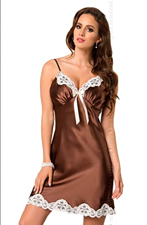 ac5b0eac0c Premium Stockings Lady s Designer Italian Satin Nightdress with Satain Bow   Amazon.co.uk  Clothing