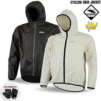Ciclismo chaqueta impermeable al aire libre ligero impermeable sin mangas largas con capucha, color Blanco
