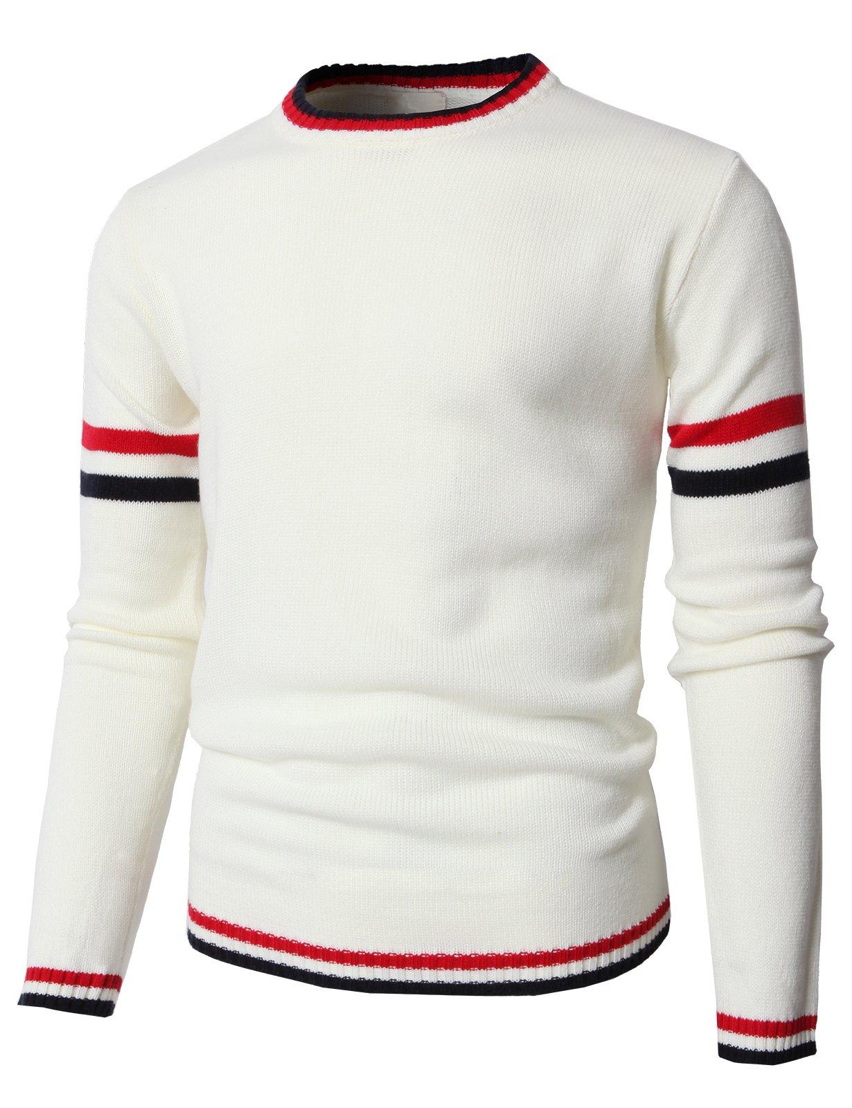 H2H Mens Fashion Slim Fit Stripe Crewneck Pullover Jumper Sweaters Ivory US L/Asia XL (KMOSWL0194)